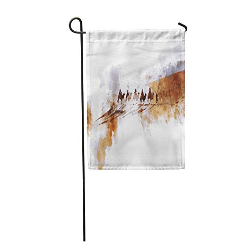 "Tarolo Decoration Flag Abstract Camels and People on Silk Road Watercolor Trip Journey Desert Sand Caravan Thick Fabric Double Sided Home Garden Flag 12"" W x 18"" H"