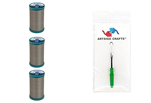 Coats & Clark Sewing Thread Outdoor Living Polyester Thread 200 Yards (3-Pack) Steel Bundle with 1 Artsiga Crafts Seam Ripper S971-0770-3P