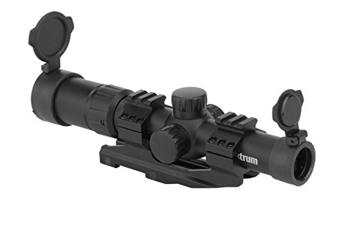 Monstrum Tactical 1.5-4x Tactical Rifle Scope with Range Finder Reticle and One-Piece Offset Mount (Black)