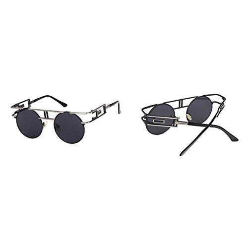 Plata vintage de marco de Steampunk sol aviador Gafas de Negro góticas de metálicas Hellomiko redondo Gris Gafas nqcvYZCwWW