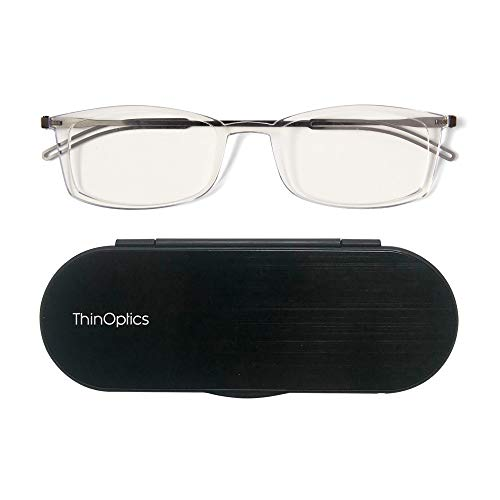 ThinOptics Reading Glasses + Milano Aluminum, Magnetic Case | Frontpage Brooklyn Collection, Clear Frame 2.00 Strength -
