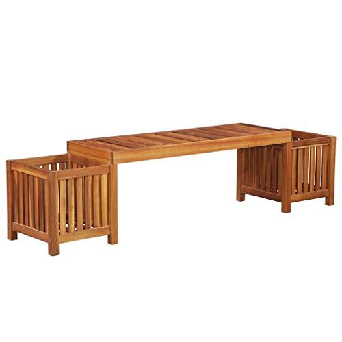 Festnight Outdoor Patio Garden Bench with 2 Garden Planter Raised Bed Box Solid Acacia Wood 70.9