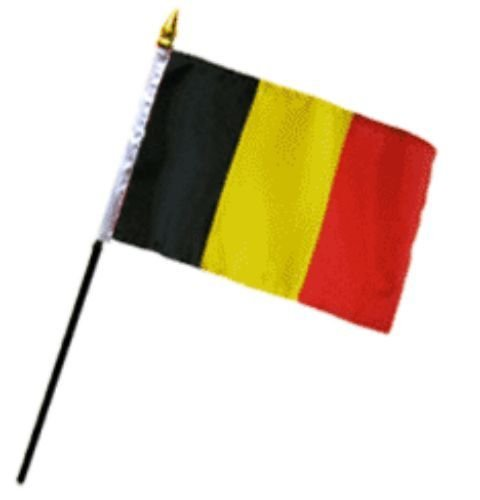 ALBATROS (Pack of 12) Belgium 4 inch x 6 inch with Stick for Desk Table Flag for Home and Parades, Official Party, All Weather Indoors Outdoors
