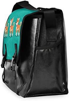 メッセンジャーバッグ メンズ 柴犬 緑 斜めがけ 肩掛け カバン 大きめ キャンバス アウトドア 大容量 軽い おしゃれ