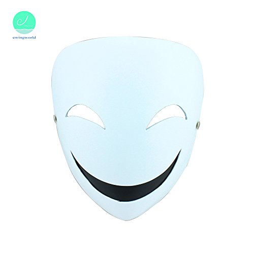 [Men Hiruko Mask Halloween Cosplay Clown Resin Masks Fashion White Smiling Face] (Smiling Man Mask)