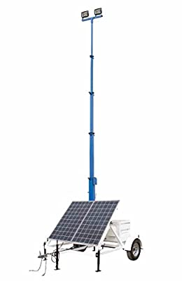 100W Solar Tower - 30' Light Tower - 7.5' Trailer - (2) 50W LED Lamps - (2) 265W Panels - IP68
