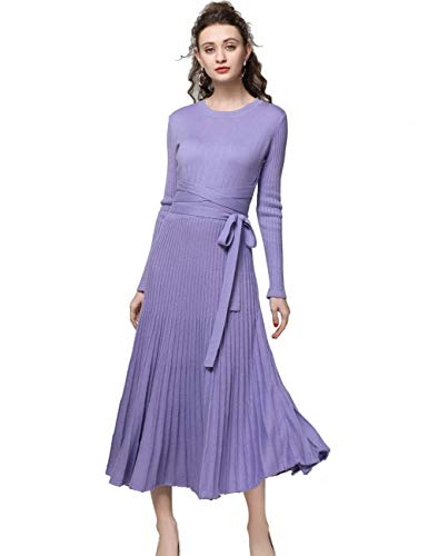 FINCATI Sweater Dress Women 2018 Spring Autumn Cashmere Belt Fitted Waist Pleated Midi Dresses (Lavender, M) (Dress Spring Lavender)