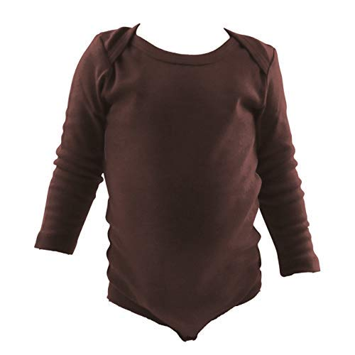 COUVER Unisex Baby Infant Toddler Long Sleeve Lap Shoulder Solid Color Bodysuit Onesie,Chocolate Brown,24 Months ()