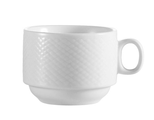 8 Ounce Stacking Mug - CAC China BST-1-S Boston 3-1/2-Inch 8-Ounce Super White Porcelain Stacking Cup, Box of 36