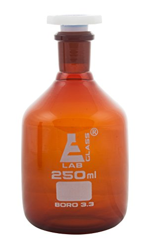 Eisco Labs 250ml Amber Reagent Bottle, Narrow Mouth with Acid Proof Polypropylene stopper, socket size 19/26