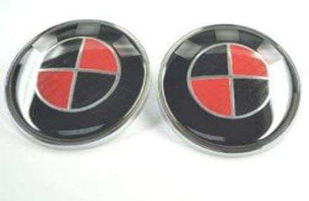 2pcs Replacement Generic Round Black Red Carbon 82mm Hood 82mm Trunk Bright Emblem Logo Badge Compatible Fit Replacement For Bayerische Motor Wheel Model Design Car