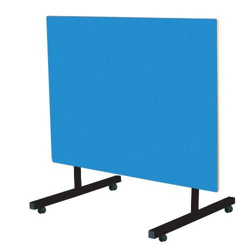 メタリックTILT-159-B-64-BK-ブルーチルトトップダイニングテーブル、ブロストリップ端、青