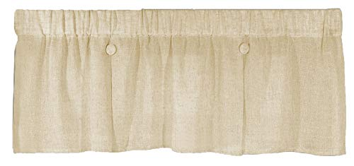 Pleated Button Valance - Ricardo Trading Shannon Sheer Pleated Button Valance Curtain 52