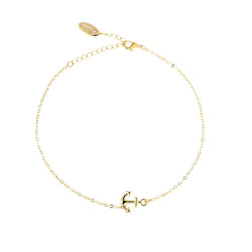 (S.J JEWELRY Fremttly Friendship Gift Handmade Dainty Anklet 14K Gold Filled/Silver Anchor and Star Lucky Beads Lace Chain Adjustable Foot Chain for Womens-ANK-Anchor-Gold)