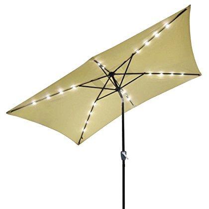 10'x-6.5' Rectangle Solar Patio Umbrella Aluminum w/ LED Lights Beige 9'