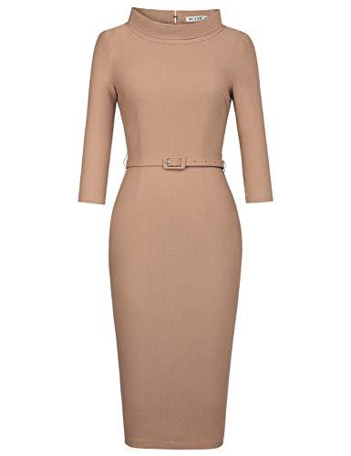 MUXXN Fashion 60s Vintage Mock Neck Slim Stretch Bridesmaid Party Dress for Women (Camel - Sleeve Dress Mock
