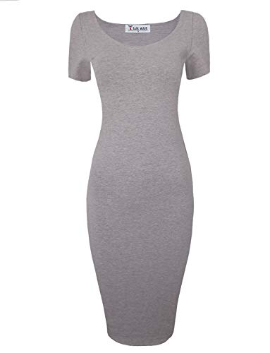 TAM WARE Women's Sweetheart Short Sleeve Midi Dress TWCWD053-D065-GRAY-US XL