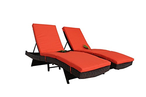 Jetime Outdoor Brown 2Pcs Poolside Lounger Cahir Set Rattan Lounge Chair Wicker Portable Chaise Couch Furniture Ajustable Sunbed Garden Couch 4 Color Cushion with Orange Cushion For Sale