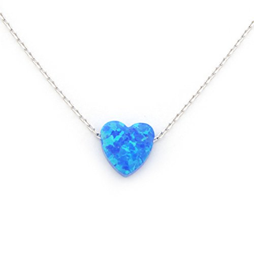 Solid Sterling Silver Rhodium Plated Small Simulated Blue Opal Heart Pendant Necklace, 16