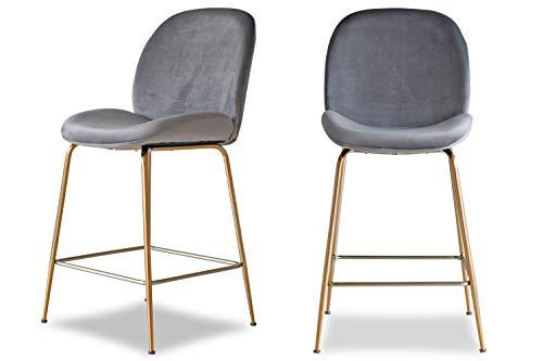 Edloe Finch Modern Velvet Counter Stools Set of 2 Upholstered Grey