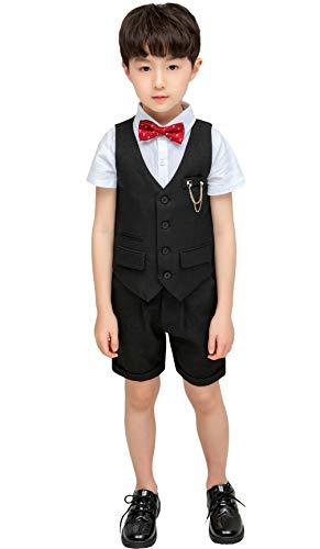 (Boys Summer Plaid Suits Vest Set 3 Pieces Shirt Vest and Pants Size 5T Black 110cm)
