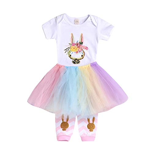 AutumnFall 3PCS Infant Baby Girls Easter Rabbit Print Romper Tops+Leggings Outfits Tulle Skirt Sets (Age:18-24 Months, White)]()