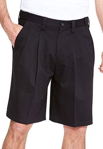 KingSize Men's Big & Tall Classic Fit Wrinkle-Free Expandable Waist Pleat Front Shorts, Black Tall-36