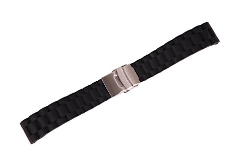 Black Rubber Belt Watch (20mm Nonslip Sport Watch Belt Replacement Diving Watch Strap in Black Rubber with Safety Folded Clasp)