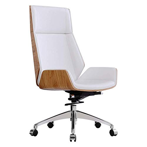 Leather Swivel Chair Ergonomic Office Chair High With Adjustable Headrest And Lumbar Support Thicker Padded Home Office Chair Color White Beachfront Decor