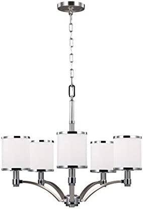 Feiss F3084 5SN CH Prospect Park Glass Chandelier Lighting with Shades, Satin Nickel, 5-Light 25 Dia x 21 H 375watts