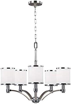 Feiss F3084/5SN/CH Prospect Park Glass Chandelier Lighting