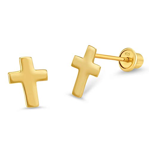 14k Gold Plated Brass Plain Cross Screwback Baby Girls Earrings with Sterling Silver Post ()