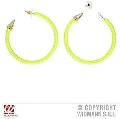 Pendientes Criollos en/relámpago amarillo 80er/accesorios para disfraz de disco o de