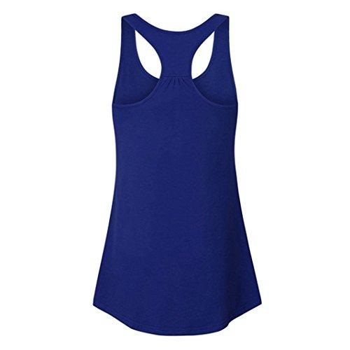 Adeshop A 2xl Summer Taglia Slim High Tee Casual Donna Tank Stretch irregolare Elegante Button sezione Top Fashion senza Blu S Vest Top Pure maniche Camicetta Long Colour Vest Chic rxFYrq