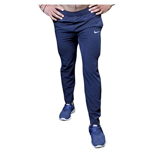 31hFgcVW4oL. SS500  - BuyBack Men's Cotton Track Pants, Joggers, Night Wear Pajama, Sports Gym, Lower with Zip Pockets (Blue, Large)