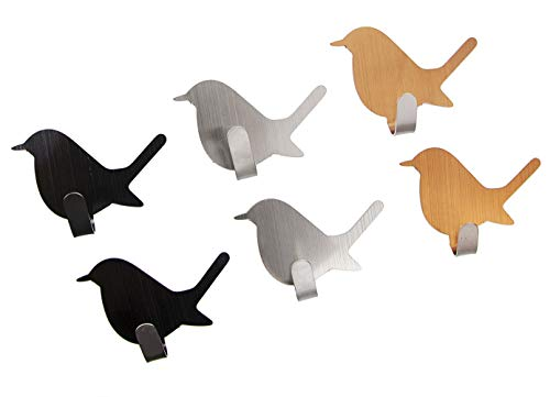 OESDLTD Adhesive Hooks Bird Stainless Steel Door Hanging Keys for Kitchen Bathroom 6PCS