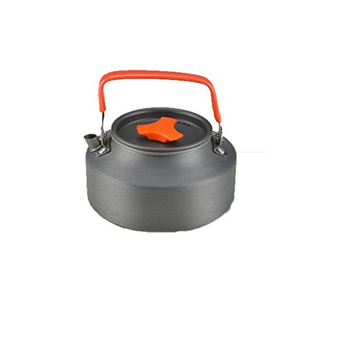 (8haowenju Terra Hiker Camping Cookware, Nonstick, Lightweight Pots, Pans with Mesh Set Bag for Backpacking, Hiking, PicnicTerra (Black) (Color : Black, Size : 1.1L Kettle))