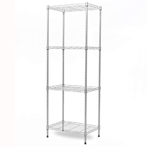 - Sol brothers 4-Tier Wire Shelving Unit Metal Storage Rack Durable Organizer Perfect for Pantry Closet Kitchen Laundry Organization (Grey)