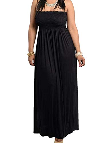 (811 - Smocked Chest Strapless Tube Long Maxi Beach Cover-up Dress (1X, Black))