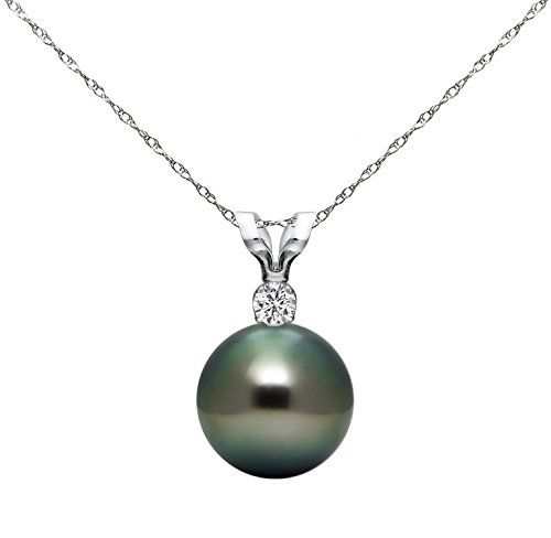 14K Gold Diamond Necklace Chain South Sea Tahitian Cultured Pearl Pendant Jewelry AAA+ 10-10.5mm (Diamond Pendant White Gold Jewelry)