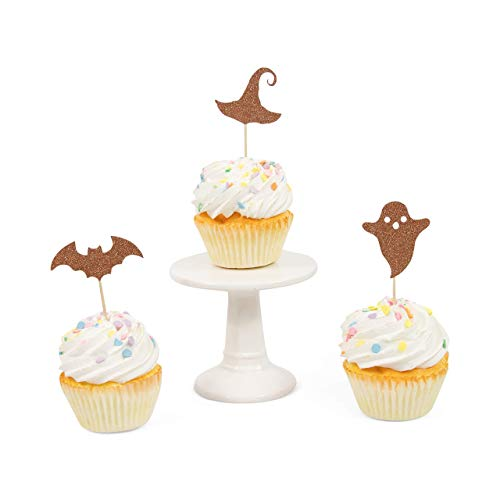 CLOSEOUT 24pc Halloween Variety Rose Gold Glitter Cupcake Toothpick Toppers]()