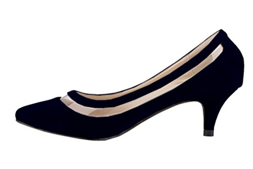 Pointed Velveteen Elegant Women's Shoes Pumps Sexy On Heels Slip Dress Toe Black Kitten ACg0C7wq