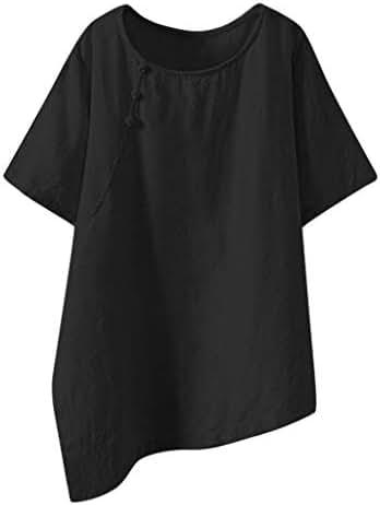 QIQIU Women Linen Solid Irregular Button Tanic Loose Casual Plus Size Short Sleeve Blouse Tops Shirts
