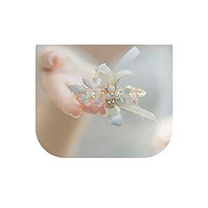 meiguiyuan Elegant Wedding Prom Corsages Luxury Crystal Wrist Corsage Bracelet Handmade Bridal Hand Flowers 8