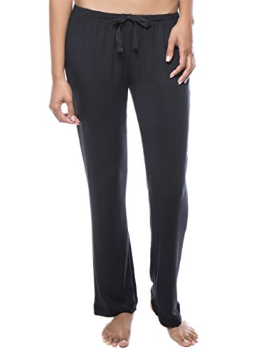 Rayon Knit Pant - Noble Mount Twin Boat Women's Breezy Night Knit Lounge Pant - Black - 2XL
