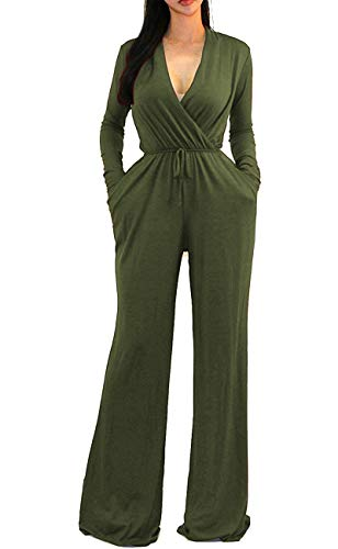 OURS Women's Sexy Wrap Top Wide Leg Long Sleeve Cocktail Knit Jumpsuit (Army Green, S) (Jumpsuit Wrap)