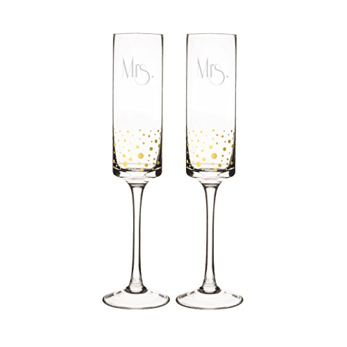 Cathy's Concepts Mrs. & Mrs. Gatsby Dotted Contemporary Champagne Flutes, (Gold Accented Blown Glass)