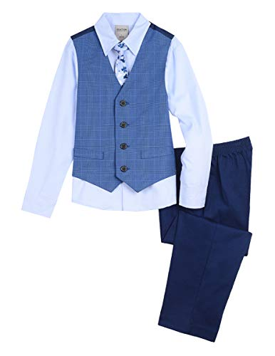 Kenneth Cole Boys' Little 4-Piece Formal Vest Set, Estonian Blue 6