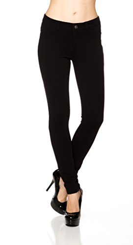 A.S Juniors Ponte Knit High Rise Stretch Skinny Jegging Pants (Small, Black) (Sleek Knit Pants)