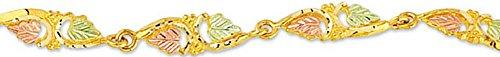 Petite Heart Shape Leaf Bracelet, 10k Yellow Gold, 12k Green and Rose Gold Black Hills Gold Motif, 7'' by Black Hills Gold Jewelry